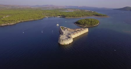 Sibenik St. Nicholas Fortress aerial Stok Video