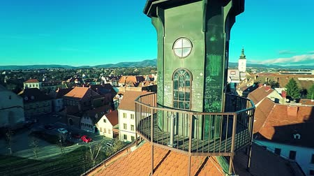Viewpoint of the Tower Lotrscak in Zagreb Stock Footage