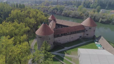Sisak triangular fortress aerial Stock Footage