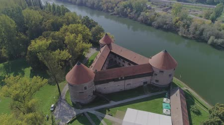 nativo : Sisak triangular fortress aerial Stock Footage