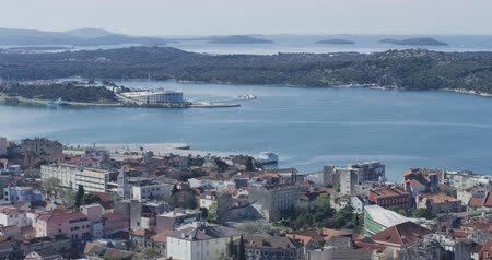 Sibenik aquatorium panoramic view Stock Footage