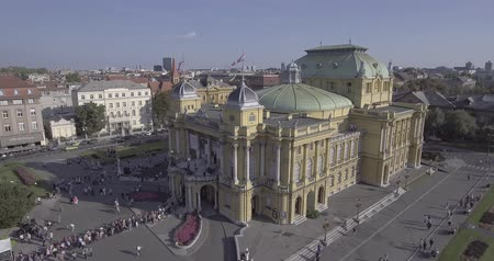 Croatian national theater in Zagreb aerial
