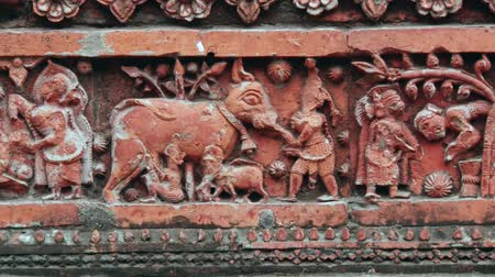 terracota : Exterior detail of the beautiful Pancharatna Govinda Hindu temple in Puthia, Bangladesh.