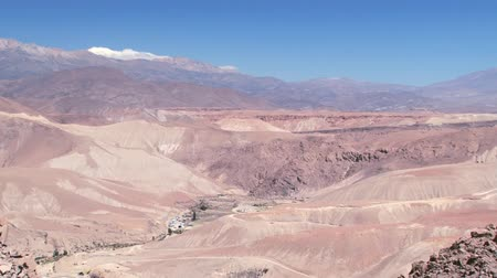 aridez : View to the mountains and valley at 3500 meters above sea level near the town of Putre, Chile. Stock Footage