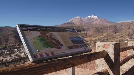aridez : Putre, Chile – October 21, 2013 : Exterior of the viewpoint to Taapaca volcano and the town of Putre in Putre, Chile. Stock Footage
