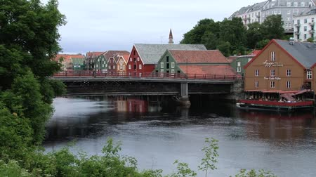 trondheim : Trondheim, Norway June 27, 2013: Exterior of the historical wooden buildings in the historical part of the city in Trondheim, Norway. Stock Footage