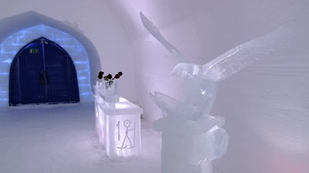igloo : Saariselka, Finland - February 19, 2013: Interior of the ice chapel in Saariselka, Finland.