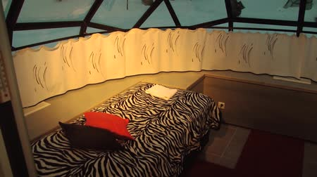 igloo : Saariselka, Finland - February 18, 2013: Interior of the original hotel rooms built like glass igloos in Saariselka, Finland. Stock Footage