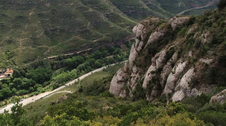 manastır : View to the landscape from the mountains of Montserrat, Spain. Stok Video
