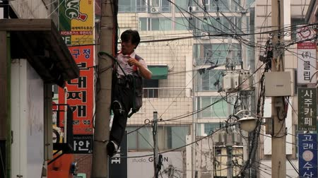 lineman : Seoul, Korea, August 09, 2013 - Man fixes electrical wires at the pole at the street of the Gangnam district in Seoul, Korea.