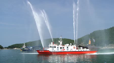 tongyeong : Tongyeong, Korea - August 17, 2013: View to the fireboat in the harbor of Tongyeong during Hansan festival in Tongyeong, Korea. Stock Footage