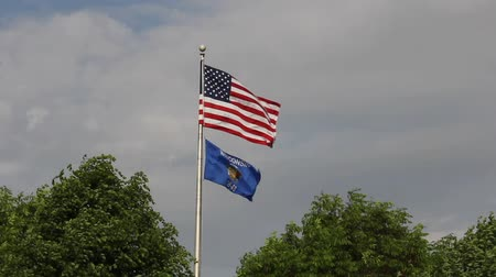 United States and Wisconsin Flags