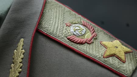harcias : Marshals epaulet with coat of arms of the Soviet Union, higher military rank. Old military uniform of Soviet Union times. Military insignia with State Emblem of the USSR, hammer and sickle, gold star