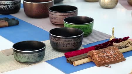 miska : Tibetan bowls. Tibetian singing bowls in meditation hall