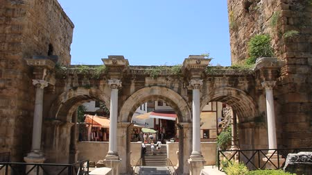 historical building : Ancient gate of Roman emperor Adrian at Antalya city center Turkey Stock Footage