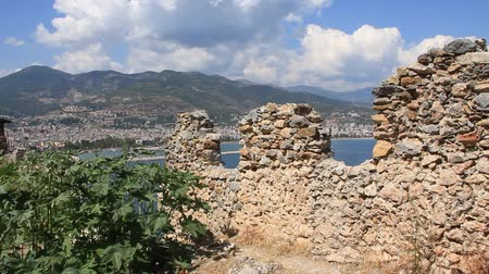 seljuk : Ruins of old fortress wall Alanya, Turkey Stock Footage