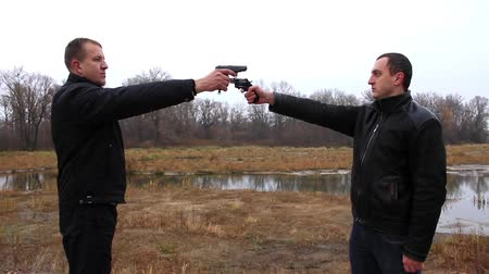 marksman : Duel. Two man with gun on the nature