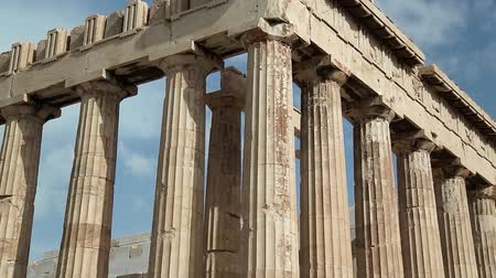reconstructed : Parthenon - ancient temple in Athenian Acropolis, Greece Stock Footage