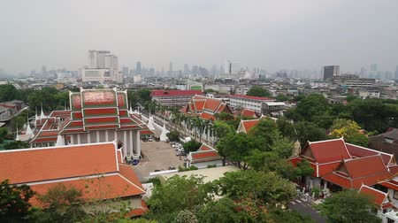 buddhista : Panorama of Bangkok downtown. View from Golden Mountain, Wat Saket