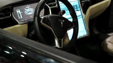 electromotor : UKRAINE, KIEV, JUNE 10, 2016: Exhibition of electric cars. Inside Tesla electromobile. Tesla electromobile interior