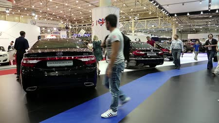 anual : UKRAINE, KIEV, MAY 31, 2013: Black Hyundai Grandeur and Hyundai Genesis at yearly automotive-show in Kiev, Ukraine