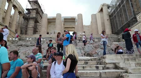reconstructed : GREECE, ATHENS, JUNE 7, 2013: Tourists in Athenian Acropolis in Greece Stock Footage