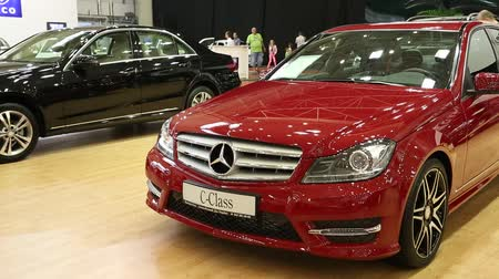 anual : UKRAINE, KIEV, MAY 31: Red Mercedes-Benz C-class at yearly automotive-show SIA 2013 in  Kiev, Ukraine, May 31, 2013