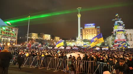 europe population : UKRAINE, KIEV, DECEMBER 17, 2013: Pro-EU rallies in Ukrainian capital Kiev after government called off EU deal.
