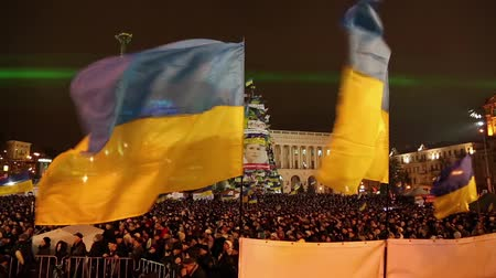 protesto : UKRAINE, KIEV, DECEMBER 17, 2013: Pro-EU rallies in Ukrainian capital Kiev after government called off EU deal.