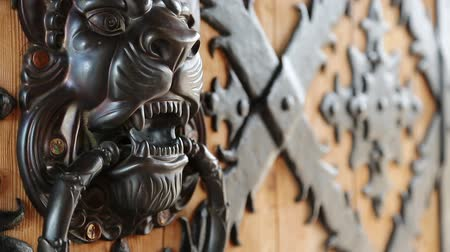 Lionhead brass knocker on old wooden door. Retro style handle-knocker on the door