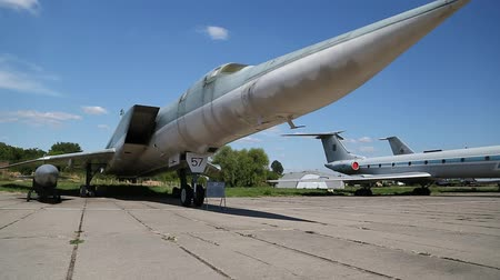 alaplap : UKRAINE, KIEV, AUGUST 10, 2016: TU-134UBL Combat Trainer in Kiev, near Zhulyany airport. Soviet aviation industry civil and military airplanes Stock mozgókép