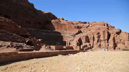 Ancient ruins of Roman Theater in Petra - historical and archaeological rock-cut city in Hashemite Kingdom of Jordan