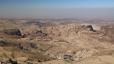 Wadi Sabra desert in Hashemite Kingdom of Jordan. Amazing scenery of stony desert in Jordan, camera lens with polarization filter