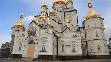 Cathedral of Transfiguration of Lord, 2013, Pochayiv Lavra, Ternopil Oblast, Ukraine. Largest orthodox church complex and monastery in western Ukraine and second in Ukraine, after Kiev-Pechersk Lavra Stock Footage