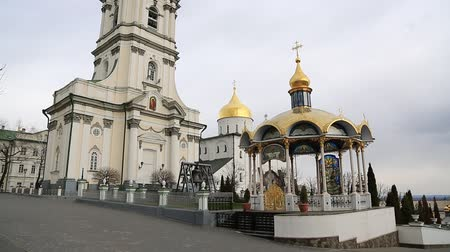 Pochayiv Lavra, Ternopil Oblast, Ukraine. Largest orthodox church complex and monastery in western Ukraine and second in Ukraine, after Kiev-Pechersk Lavra Стоковые видеозаписи
