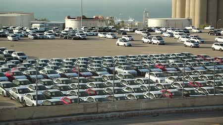 fleet : JORDAN, AQABA, DECEMBER 20, 2016: Storage facility of new automobiles. Aqaba sea port, Jordan
