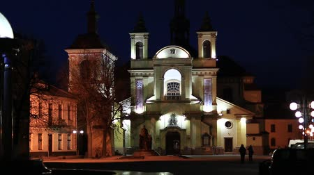 liturgy : Church of the Blessed Virgin Mary, an now art museum on Sheptitskogo Square in the night Ivano-Frankivsk city, western Ukraine Stock Footage