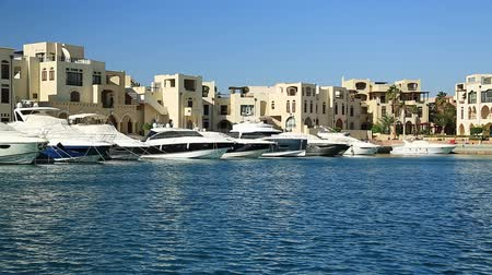 aqaba : JORDAN, AQABA, DECEMBER 10, 2016: Yachts in harbor in Tala Bay resort near Aqaba city, Jordan, Hashemite Kingdom of Jordan
