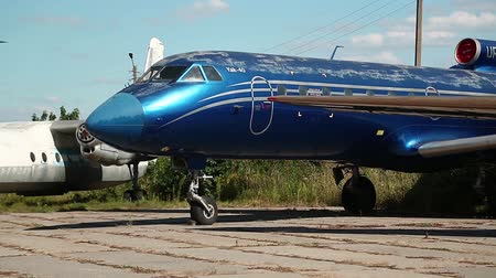 alaplap : UKRAINE, KIEV, AUGUST 10, 2016: The Yakovlev Yak-40 is a small, three-engined airliner in Kiev, located near Zhulyany airport. Soviet aviation industry civil and military airplanes