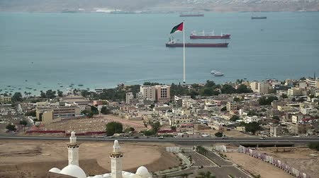 mussulman : Panorama of Aqaba city in Jordan and seacoast of Eilat city in Israel. View from mountain in Aqaba city in Jordan. Two city and two country in one video clip