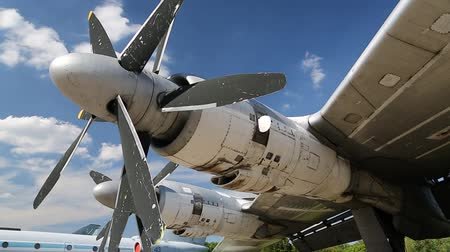 Motors of old TU-142 VPMK Bear-F Mod 4 Long-Range ASW propeller-driven aircraft in aviation museum in Kiev, Ukraine, located near Zhulyany airport. Soviet aviation industry civil and military airplanes Стоковые видеозаписи