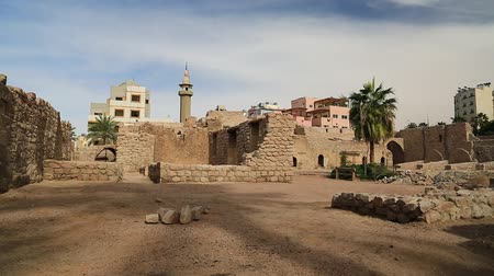 aqaba : JORDAN, AQABA, DECEMBER 16, 2016: Aqaba Castle, Mamluk Castle or Aqaba Fort, adjacent to the fort is an archaeological museum. Aqaba - only coastal city in Hashemite Kingdom of Jordan