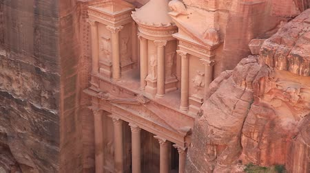 Al Khazneh or Treasury - Nabatean rock-cut temple of Hellenistic period of ancient Petra, originally known to Nabataeans as Raqmu - historical and archaeological city in Hashemite Kingdom of Jordan