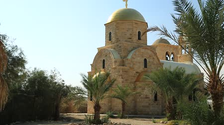 St John The Baptist Church Jordan River. The newly built Greek Orthodox Church of John the Baptist, the Greek Orthodox Patriarchate, the historical place of baptism of Jesus Christ of Hashemite Kingdom of Jordan Stock Footage