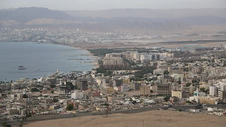 mussulman : Panorama of Aqaba in Jordan and Eilat city in Israel. View from mountain in Aqaba city in Jordan. Two city and two country in one video clip
