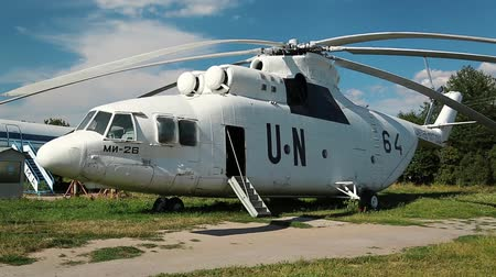 sivil : White Mi-26 for United Nations. NATO reporting name: Halo, product code: Izdeliye 90. Aviation museum in Kiev, Ukraine. Soviet and Russian aviation industry