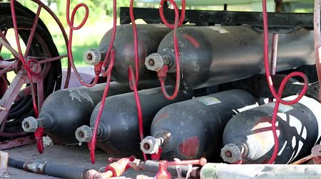 depositary : Black gas cylinders, pressure tanks