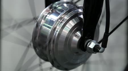 electromotor : Bicycle electric wheel. Electric wheel for city bicycle Stock Footage