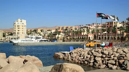 aqaba : JORDAN, AQABA, DECEMBER 10, 2016: Boats in harbor in Tala Bay resort near Aqaba city, Hashemite Kingdom of Jordan