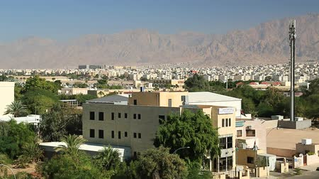 посылка : View of the city of Aqaba in Hashemite Kingdom of Jordan Стоковые видеозаписи